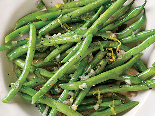 Instead of mint, tarragon or basil would be equally delicious. If desired, top with fresh lemon rind for a little extra zing. Try one of our variations: Red Pepper and Pesto Green Beans, Ginger-Sesame Green Beans, or Green Beans with Stewed Tomatoes and Spices.