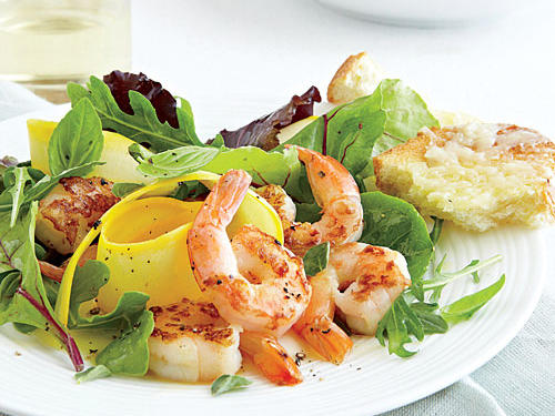 High-protein shrimp over a bed of fresh lettuce makes for a delicious main dish salad.
