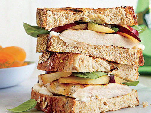 This turkey sandwich loses the bland cold cuts and upgrades to thick turkey cutlets, sweet plums, and fresh basil.