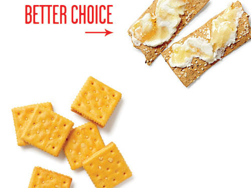 Trade the cheese-filled cracker-sandwich pack for this easy sweet-salty-savory combo: Spread 1 tablespoon part-skim ricotta on each of 2 thin, crisp multigrain flatbreads. Drizzle with 1 teaspoon honey.