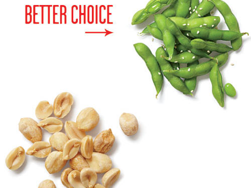 They're heart-healthy, yes, but the peanuts contain 200 calories per ¼ cup. Trade legume for legume with ½ cup shelled edamame, sprinkled with 1 teaspoon toasted sesame seeds and not only do you lose 100 calories, you gain 4 more grams of protein, too.