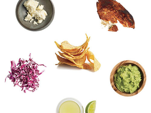 ½ cup crumbled Cotija cheese8 ounces blackened tilapia¼ cup guacamole1 cup prepared red cabbage slaw2 tablespoons fresh lime juice