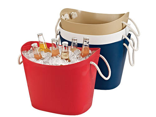 More stylish than a cooler, and sturdy rope handles make them easy to carry ($25 each, containerstore.com).