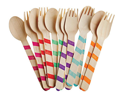 Wooden forks and spoons are both eco-friendly and fun ($10/20 pieces, shopsweetlulu.com).