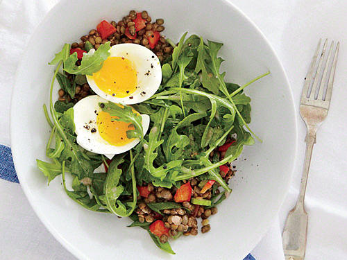 Green lentils keep a firm texture even after cooking, a desirable trait for this hearty salad.