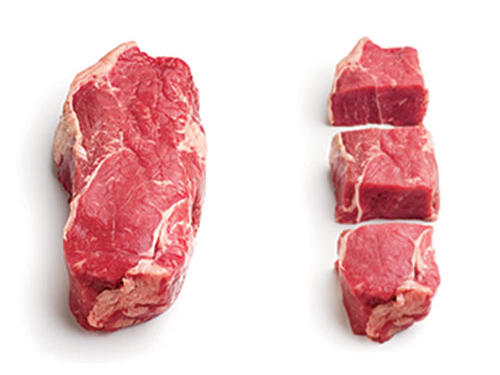 Here's the beef: Cuts at supermarkets look like cuts at steak houses—too big. Even leaner tenderloins average about 8 ounces. Grill your steak of choice, let it rest a bit, and then thinly slice. Take a few pieces for dinner (weigh them until you can eyeball the portion), and save the leftovers for lunch. One 14-ounce steak will yield 3 full servings of meat.Slice a 10-ounce supermarket chicken breast in half lengthwise into two 5-ounce cutlets (they'll cook faster, too). Or try a thigh, a smaller, juicier choice with only 1 additional gram of sat fat per ounce.Try the smaller-plate trick. Those smaller cuts won't look so diminutive on 8-inch lunch plates.Buy bone-in. Bones take up space and weight (and sometimes add flavor), so there is less meat to eat.