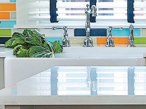 Caesarstone Countertops and Farm-Style Sink
