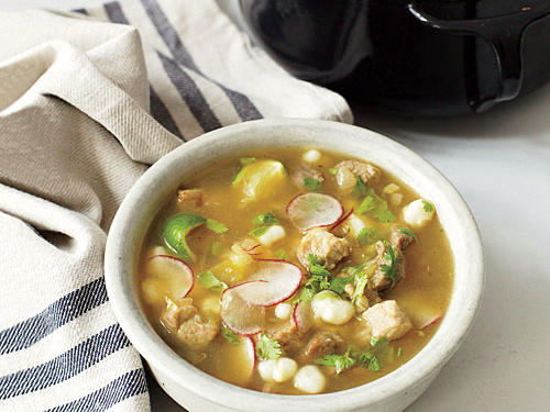 It's amazing how much flavor there is in such a humble (and, by the way, inexpensive) dish. The star of the soup is hominy, with its chewy texture and toasty-corn character; you'll find it with the Latin foods in the supermarket.