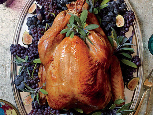"Brining a turkey is well worth the day-ahead time investment. It removes all guesswork, producing an incredibly moist bird that's more forgiving of being slightly overcooked. If you can't find an organic turkey, look for a fresh one without ""added solution."""
