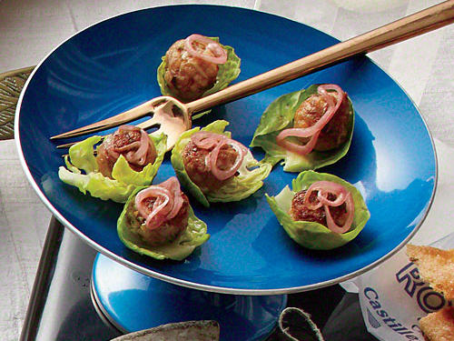 Meatballs in Brussels Sprout Cups