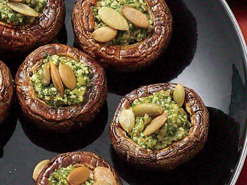 Pepita Pesto-Stuffed Mushrooms