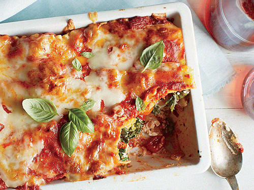 Lasagna with Grape Tomatoes and Broccoli Rabe