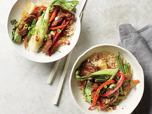 Crispy Pork Stir-Fry with Baby Bok Choy recipe