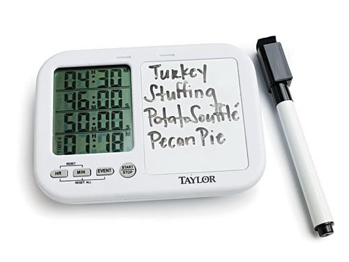 When you're cooking several dishes at one time—like on Turkey Day—the Taylor Quad Kitchen Timer with Whiteboard is a lifesaver. You can track up to four dishes at once and label which timer goes with what dish.