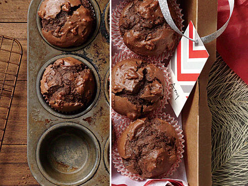 Create a rich muffin for chocolate lovers with three different kinds of chocolate: bittersweet, cocoa, and semisweet chocolate chips.