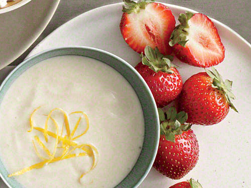 The tangy flavor of lemon and Greek yogurt combined with sweet honey make a perfect dip to serve with strawberries.
