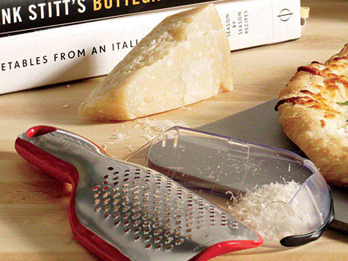 The Elite Series Gift Set contains each of Microplane's everyday graters—fine, coarse, extra coarse, and ribbon. A transparent cover doubles as a measuring cup.$60/set of 4, us.microplane.com