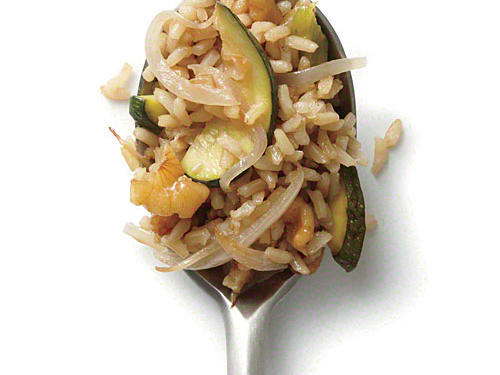 Zucchini and Walnut Fried Brown Rice