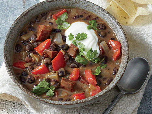 Smoky chorizo and bright lime add depth to a soup made quick with canned beans.