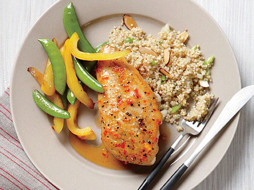 Glazed Chicken with Almond Quinoa