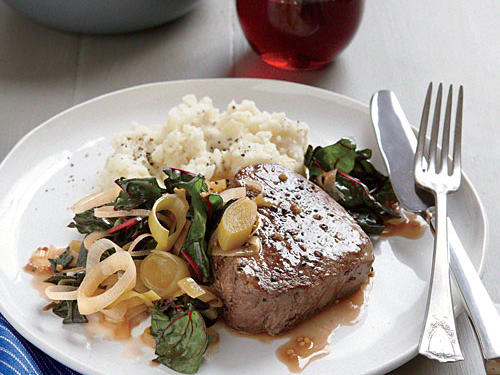 Seared Steak with Braised Leeks