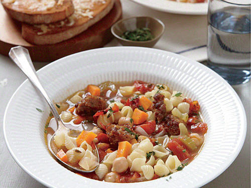 If you're making this dish ahead of time, be sure to store the soup and pasta separately.