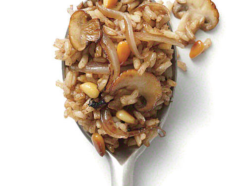 Mushroom and Pine Nut Fried Brown Rice