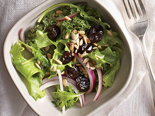 Perfect for a light lunch or side, this Cherry and Sunflower Seed salad features a homemade honey-mustard vinaigrette. The dried cherries and sunflower seeds give the kale an extra crunch with a sweet and salty finish.