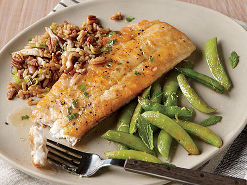 Browned Butter Flounder with Lemon Snap Peas