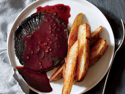 This spin on the bistro staple steak frites offers plenty of umami satisfaction in the form of juicy, meaty portobello mushrooms and a savory wine sauce. Finishing the sauce with a touch of vegan butter gives it luxurious and velvety consistency.