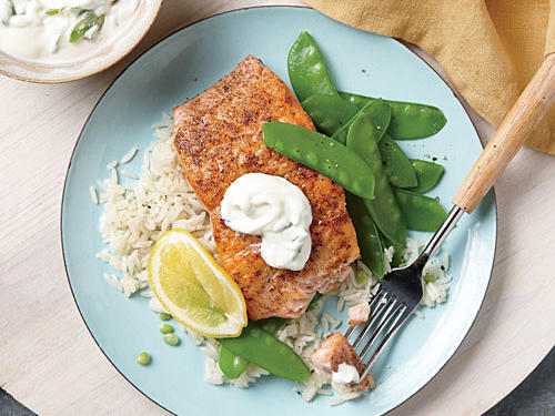 Garam masala, a warm Indian spice blend, makes a simple and flavorful rub for this succulent seafood preparation. Serve the salmon with steamed snow peas and precooked jasmine rice (such as Uncle Ben's).