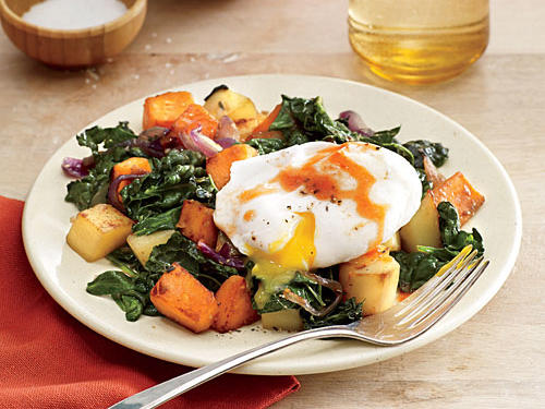 Vegetable and Greens Hash with Poached Egg