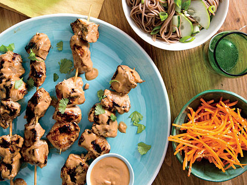 Marinated in a little honey, ginger, soy sauce, and peanut oil, these Asian-inspired chicken kebabs  are paired with cucumber noodles to create an easy weeknight dinner.