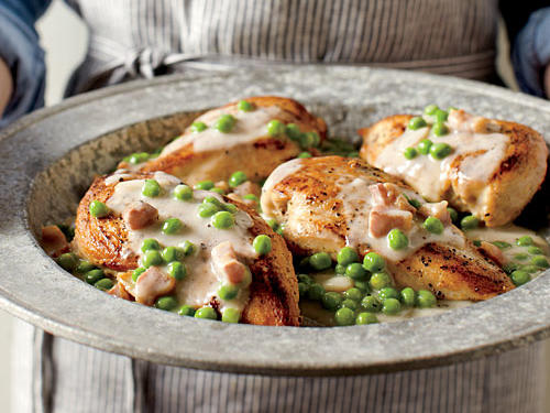 We sautéed these chicken breasts hot and fast to get them golden brown outside and moist within. If you don't have pancetta and mascarpone, substitute bacon and cream cheese instead.
