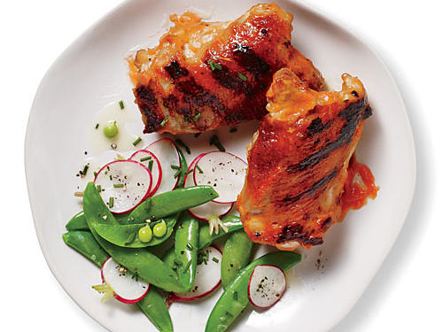 Grilled Chicken with Spicy Rhubarb-BQ Sauce