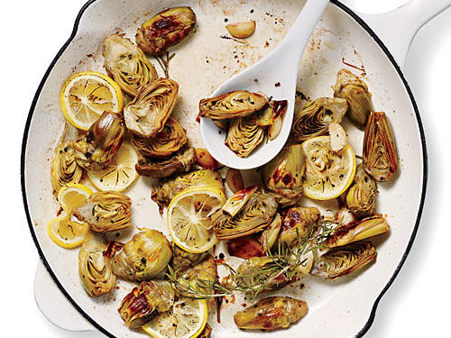 Pan-Roasted Artichokes with Lemon and Garlic