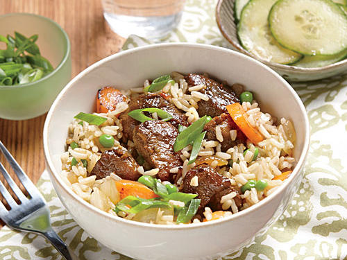 Braising the pork in soy sauce and chile paste infuses it with flavor and keeps it tender. Serve with sesame-soy cucumbers: Combine 1 tablespoon rice vinegar, 2 teaspoons lower-sodium soy sauce, 1 teaspoon dark sesame oil, and 2 sliced English cucumbers.