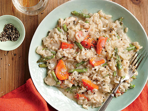 Champagne Risotto with Peppers and Asparagus