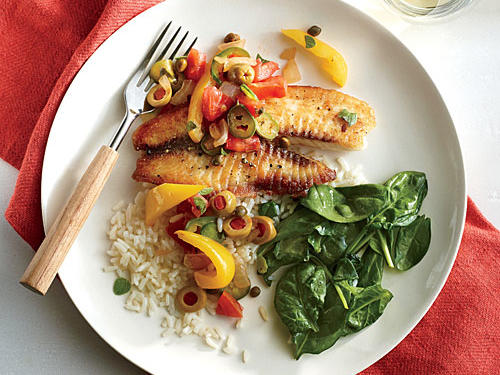 Spanish and Mexican flavors combine in this quick fish dish. Serve with steamed rice and sautéed spinach.