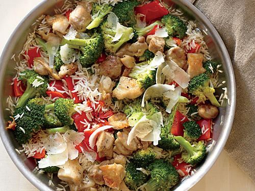 This Chicken, Rice, and Parmesan Skillet is perfect for a sunny weekend al fresco lunch or dinner.