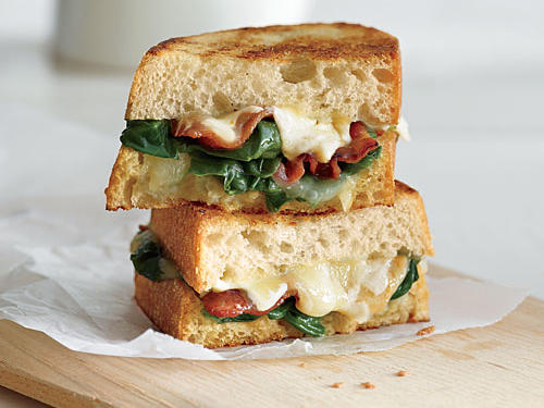 Garlicky Grilled Cheese with Bacon & Spinach