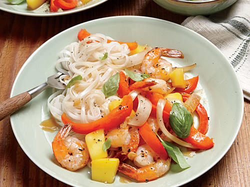 Shrimp-Mango Stir-Fry and Rice Noodles