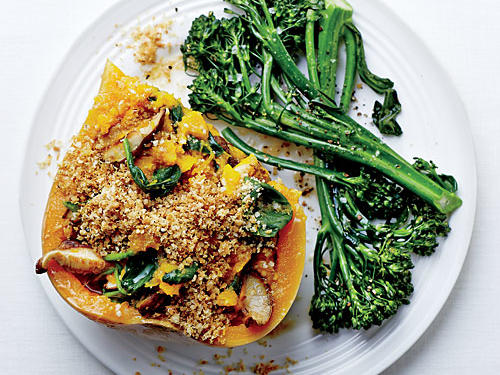Instead of stuffed chicken, why not stuffed squash? Look for quinoa flakes on the hot cereals aisle. If you can't find them, use all panko for the topping.