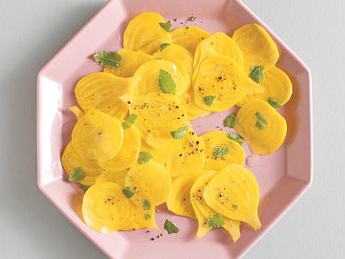 Shaved Yellow Beets and Mint