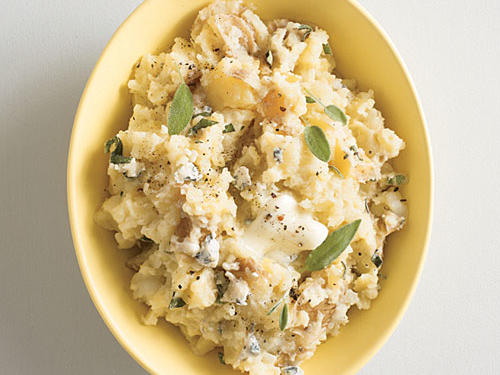 Smashed Yukon Gold Potatoes with Gorgonzola