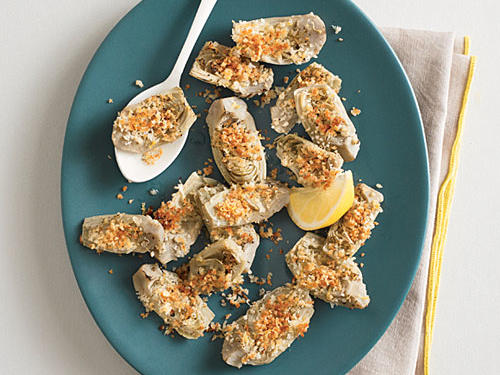 Broiled Artichoke Hearts with Lemon Crumbs