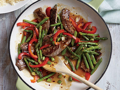 Asparagus shines in this quick stir-fry. Serve with precooked jasmine rice, available in pouches on the rice aisle.