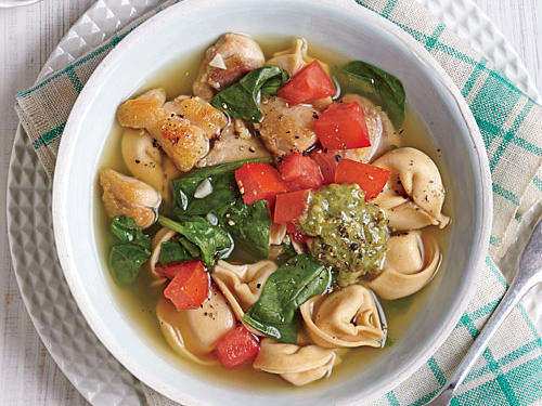 Chicken, Tortellini, and Spinach Soup with Pesto