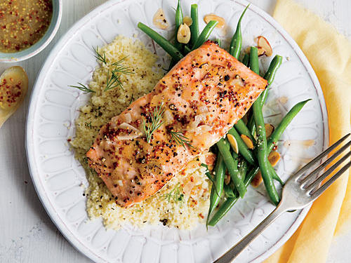 Fresh dill, lemon zest and juice bring a burst of bright flavor this beautiful fillet of salmon. Glazing the fish before cooking keeps it moist. A second coat later lets the sweet-tangy sauce shine.