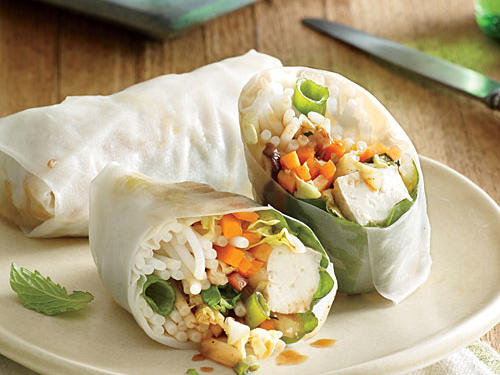 Made from a simple combination of rice flour, water, and salt, rice paper has about 30 calories per 8-inch round—that's 80% less than the same size flour tortilla. While filling one summer roll, let another rice paper soak.